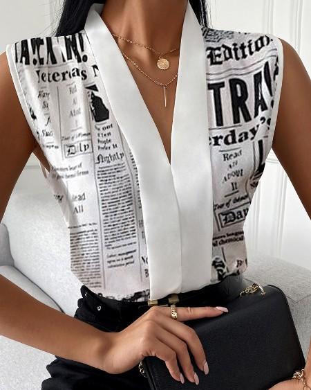 Newspaper Print V-Neck Sleeveless Top