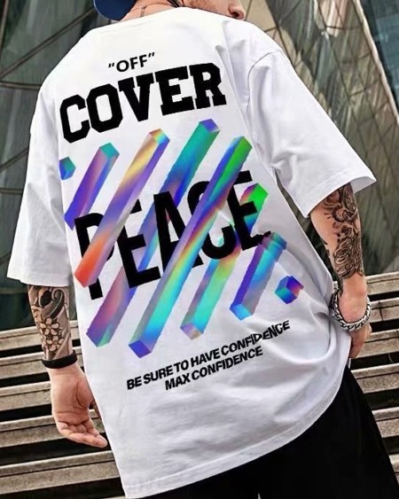 Multicolor Graphic Patterns Print Short Sleeve Loose T-shirts