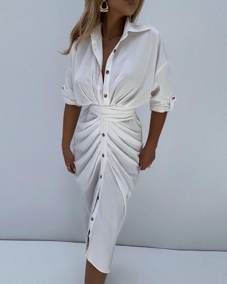 Button Design Ruched Long Sleeve Shirt Dress