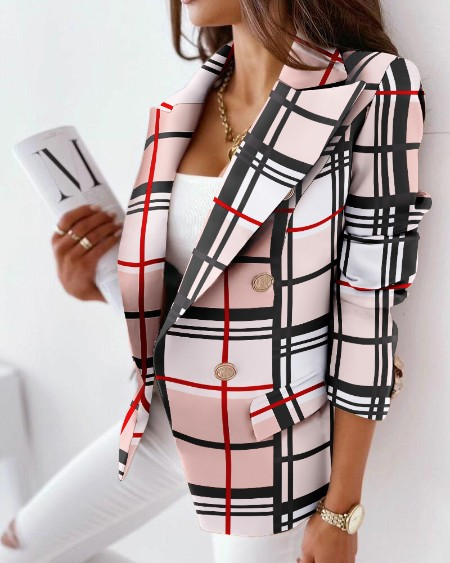 Plaid Lapel Collar Flap Detail Double Breasted Blazer