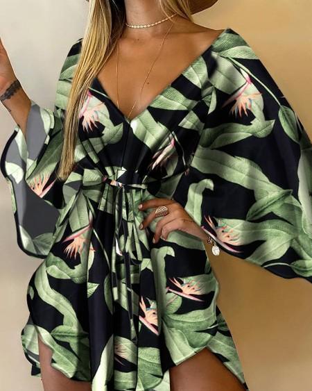 Floral Print V-Neck Batwing Sleeve Asymmetrical Tie Front Mini Dress