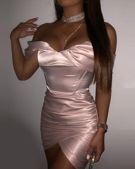 Plain Off Shoulder Ruched Bodycon Dress