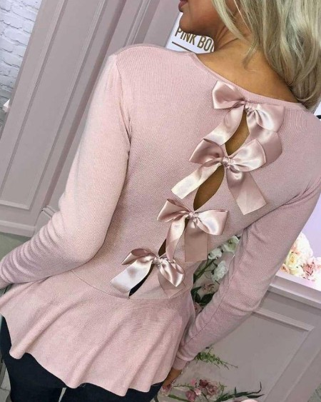 Solid Bowknot Decor Ribbed Top