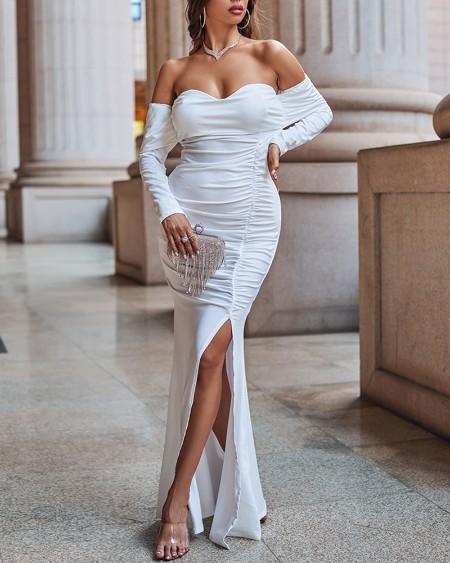 Off Shoulder Slit Ruched Maxi Dress