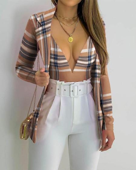 Plaid Print Skinny Bodysuit & Lapel Collar Blazer Set