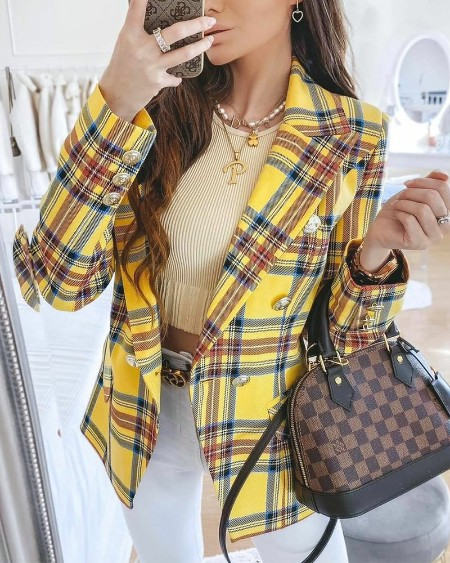 Lapel Collar Flap Detail Double Breasted Plaid Blazer