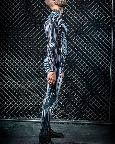 Macina Patterns Print Long Sleeve Skinny Jumpsuit