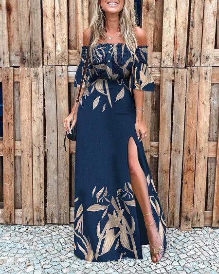 Off Shoulder Shirred Leaf Print High Slit Dress