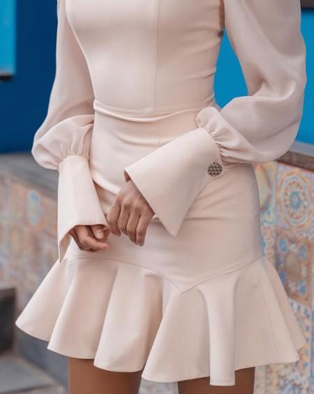 Puff Sleeve Ruffles Bodycon Dress