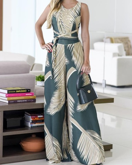 Tropical Print Belted Wide Leg Jumpsuit