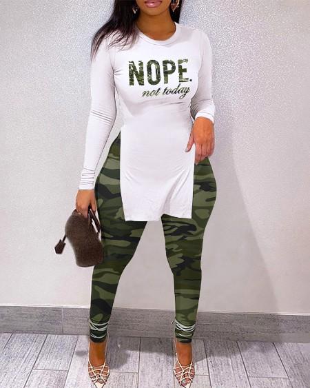 Letter Print Split Hem Long Sleeve Top & Camouflage High Waist Pants Set