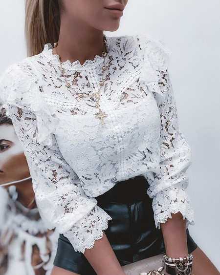 Guipure Lace Long Sleeve Shirt