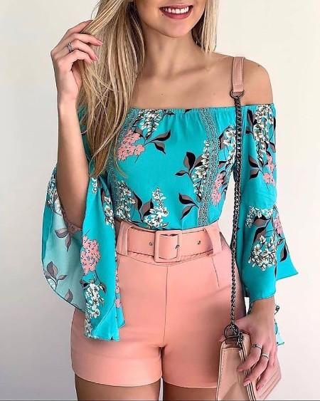 Off Shoulder Floral Print Top & Shorts Sets With Belt