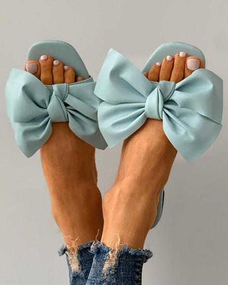 Bowknot Decor Square Toe Flat Sandals