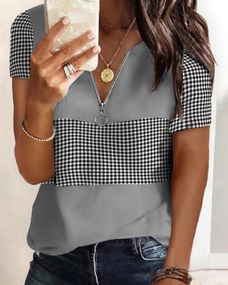 Women's Zipper Design Polkadot Print Colorblock T-shirt