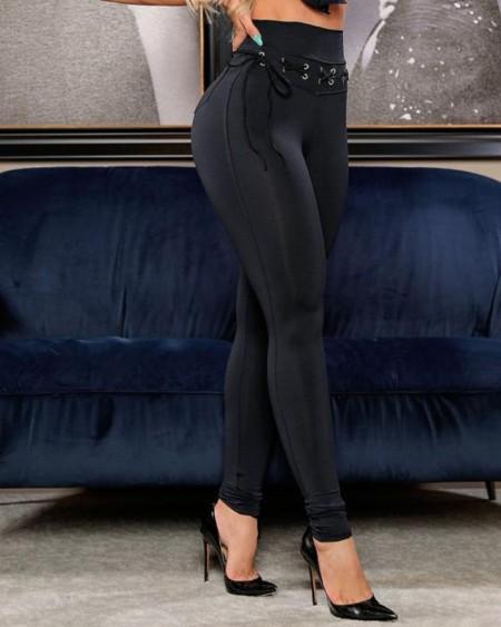 Plain High Waist Eyelet Lace-up Pocket Design Skinny Pants Slim Fit Trousers