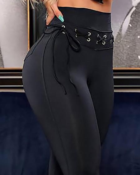 High Waist Eyelet Lace-up Pocket Design Skinny Pants