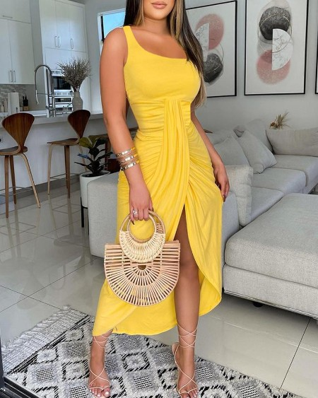 One Shoulder Twisted Ruched Slit Casual Dress