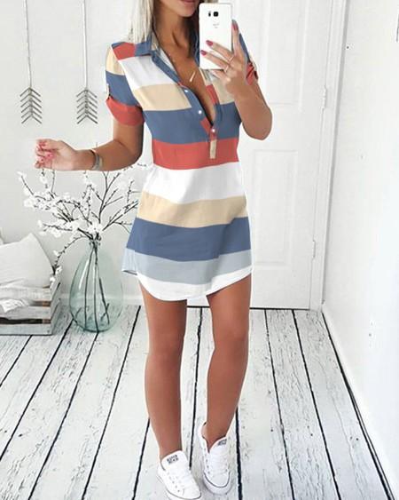 Multicolor Stripe Print Short Sleeve Button Front Shirt Dress