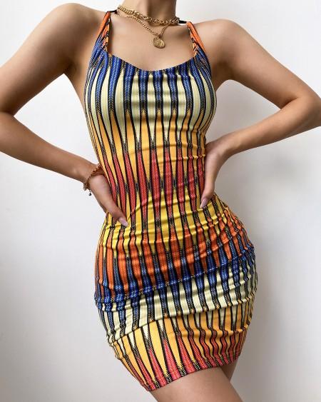 Halter Backless Colorblock Bodycon Dress