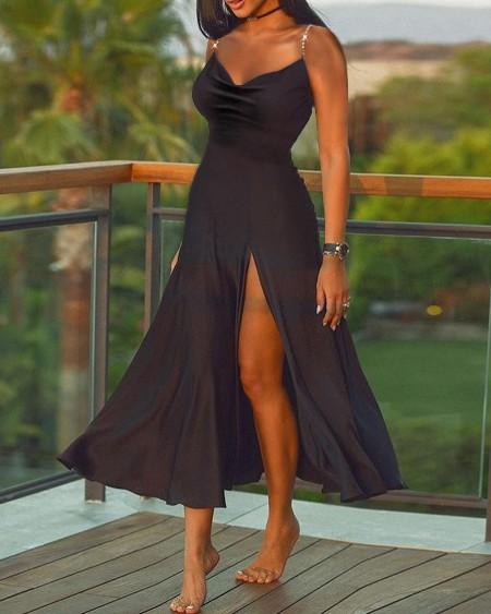 Studded Cami High Slit Plain Dress