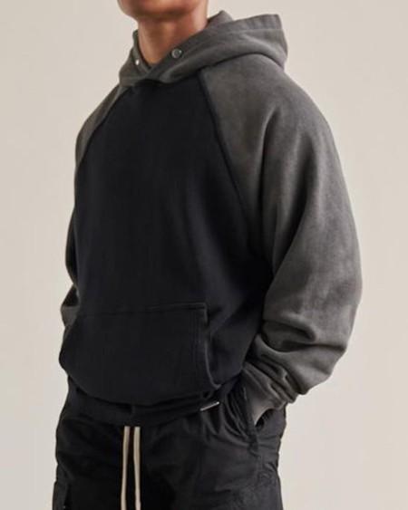 Color Block Long Sleeve Hooded Polar Fleece Sweatshirt T-shirt