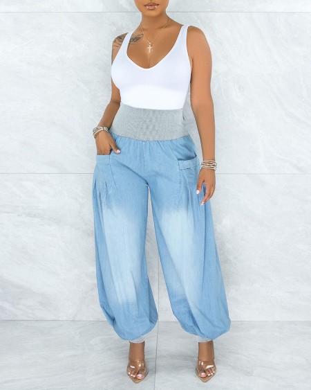 High Waist Pocket Design Colorblock Jeans