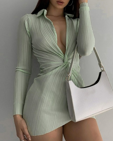 Solid Plunging Neck Long Sleeve Ruched Mini Dress