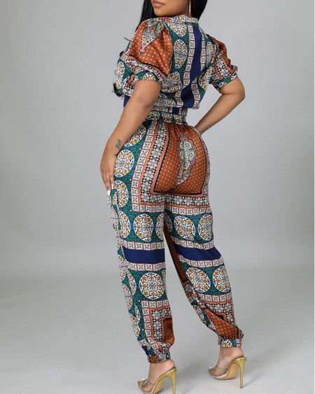 Graphic Print Puff Sleeve Top & High Waist Pants Set