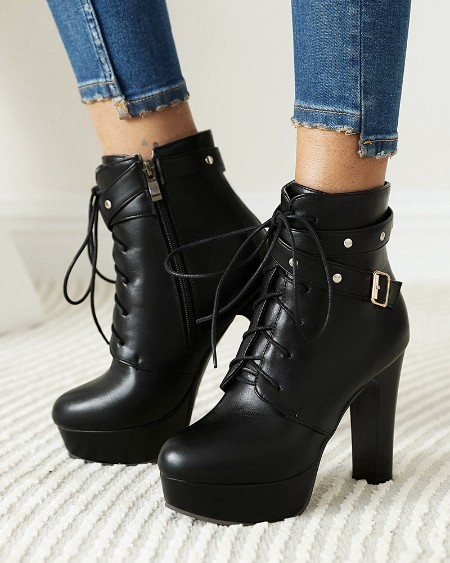 Solid Color Round Toe Lace-up High Heel Boots