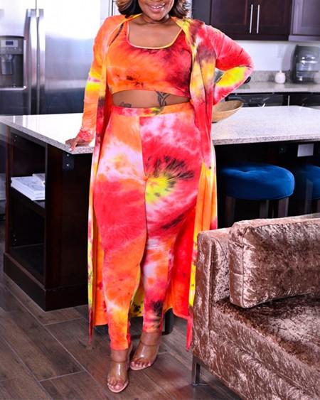 Plus Size Tie Dye Crop Tank Top & Pants With Longline Cardigan Set