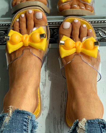 Square Toe Bowknot Pattern Clear Perspex Quilted Slippers