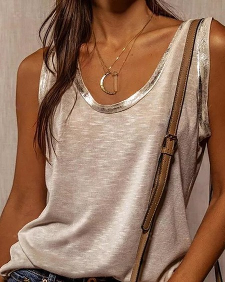 V-Neck Bronzing Trim Tank Top Casual Sleeveless Loose T-shirt