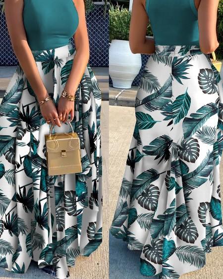 Leaf Print Patchwork Loose Maxi Half Skirt