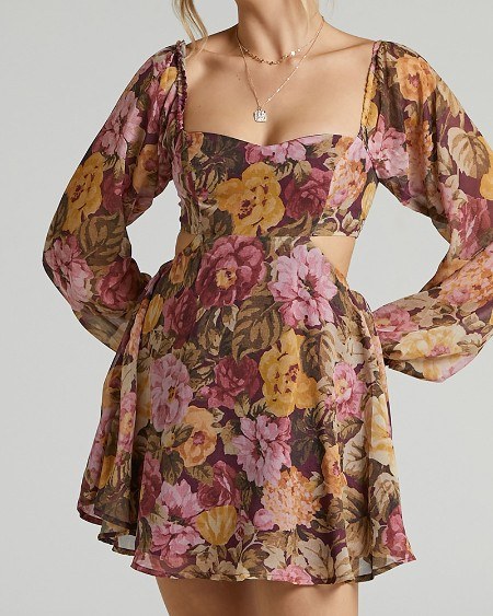 All Over Print With Floral Long sleeve Hollow-out Backless Mini Dress