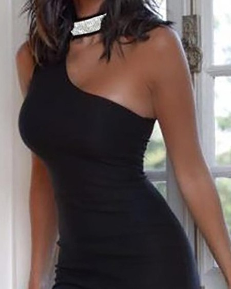 One Shoulder Glitter Ladder Cutout Bodycon Dress
