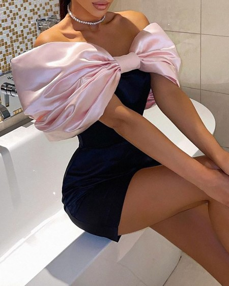 Bowknot Design Sleeveless Skinny Party Dress