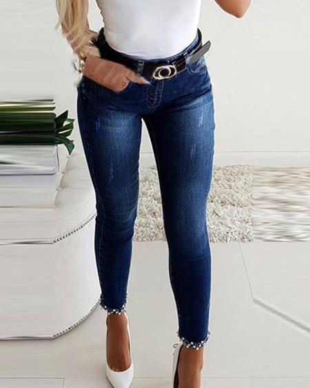 Studded Bowknot Pattern Skinny Jeans