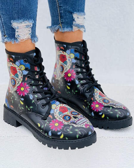 Graphic Print Eyelet Lace-up Combat Boots