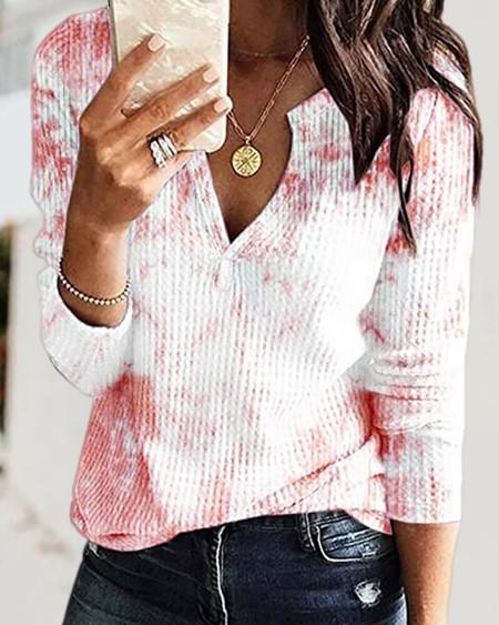 Tie Dye Print V Neck Long Sleeve Knit Top