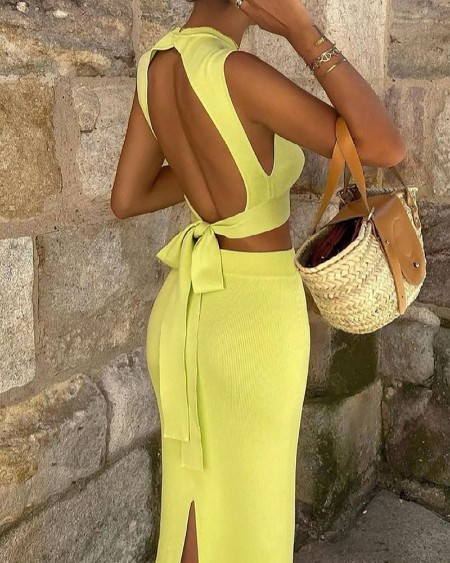 Knit Backless Tied Detail Top & Maxi Skirt Sets