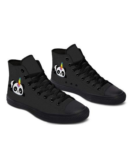 Womens Panda Unicorn Print Lace-up High Top Canvas Casual Shoes