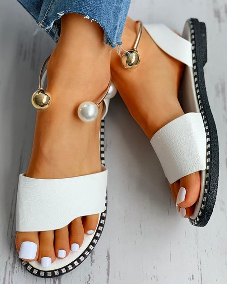 Beaded Ankle Ring Slingback Flat Sandals
