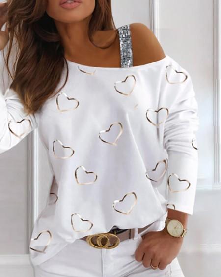 Heart Pattern Sequins Cold Shoulder T-shirt