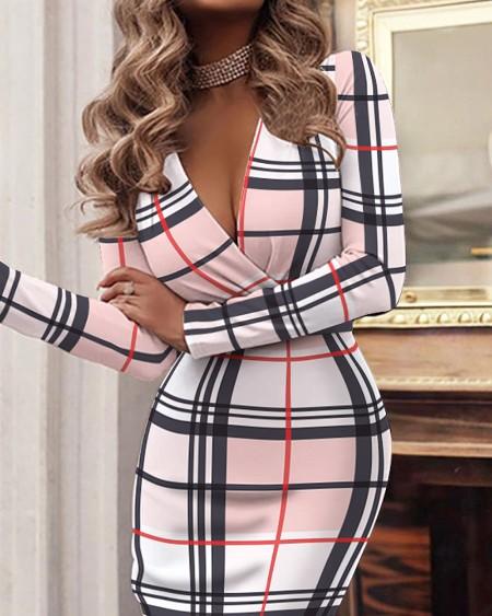 Plaid Print Long Sleeve Skinny Ruched Midi Dress