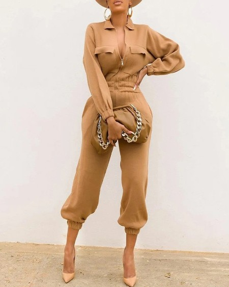 Plus Size Long Sleeve Zipper Front Cuff Jumpsuit