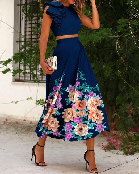 Solid Ruffle Hem Cut-Out Back Crop Top & Floral Print Skirt Set