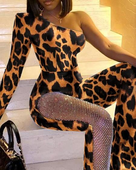 Leopard Print One Shoulder Rhinestone Flare Leg Skinny Jumpsuit