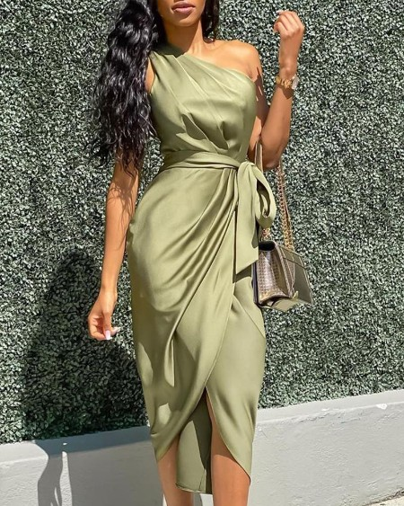 One Shoulder Ruched Slit Dress