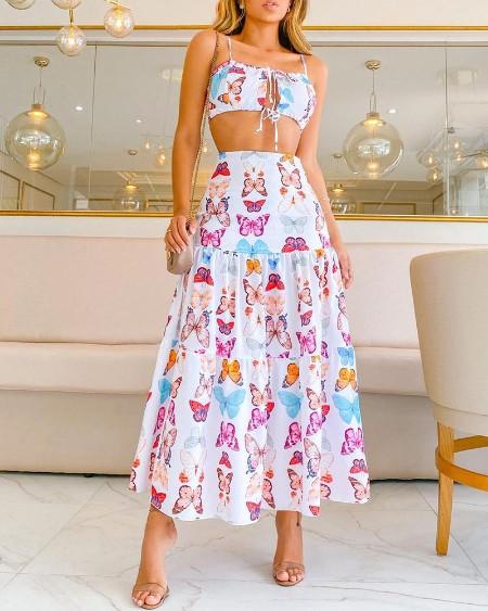 Butterfly Print Cutout Drawstring Top & Skirt Set